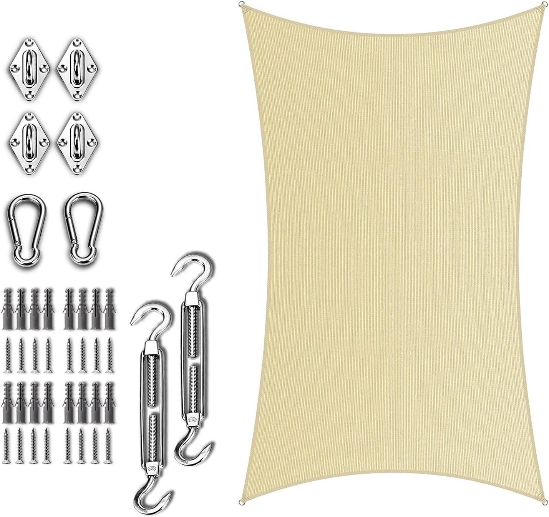 Amgo 14' x 18' Beige Rectangle Shade with Arlington Mall Sun Sail Kit quality assurance Hardware