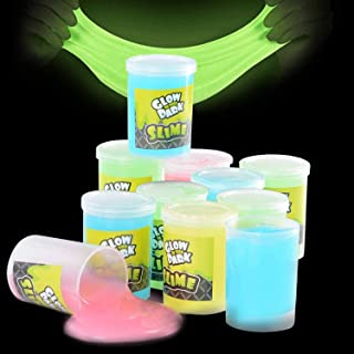 Kicko Glow in The Dark Slime - 12 Pack Assorted Neon Colors - Green, Blue, Orange and Yellow for Kids, Goody Bag Filler, B...