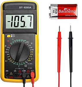Digital Multimeter DT9205A Portable Automatic Mini Voltage Multi-Tester Ranging Voltage Current Resistance Continuity Frequency with Diode Buzzer Backlight LCD Display  amp  Battery