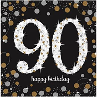 Amscan Sparkling Gold Celebration 90th Birthday Party Lunch Napkins (Pack of 16) (UK Size: One Size) (Black/Gold)