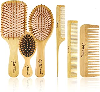 BestFire 6 in 1 Hair Brush Comb for Men Women Handle Bamboo Bristle Hairbrush Set with Tail Comb, Tooth Comb, Double Head ...