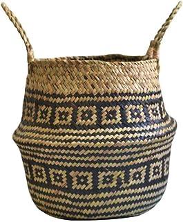 Boîte de Rangement Rotin, Bac de Rangement, Boîtier de rangement en rotin tissé de panier en osier, Bamboo à la main Bambo...