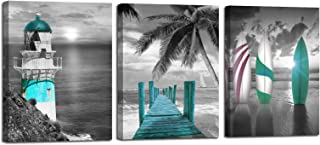 Arjun Canvas Wall Art Teal Ocean Lighthouse Painting Palm Tree Surfboard Picture Prints 3..