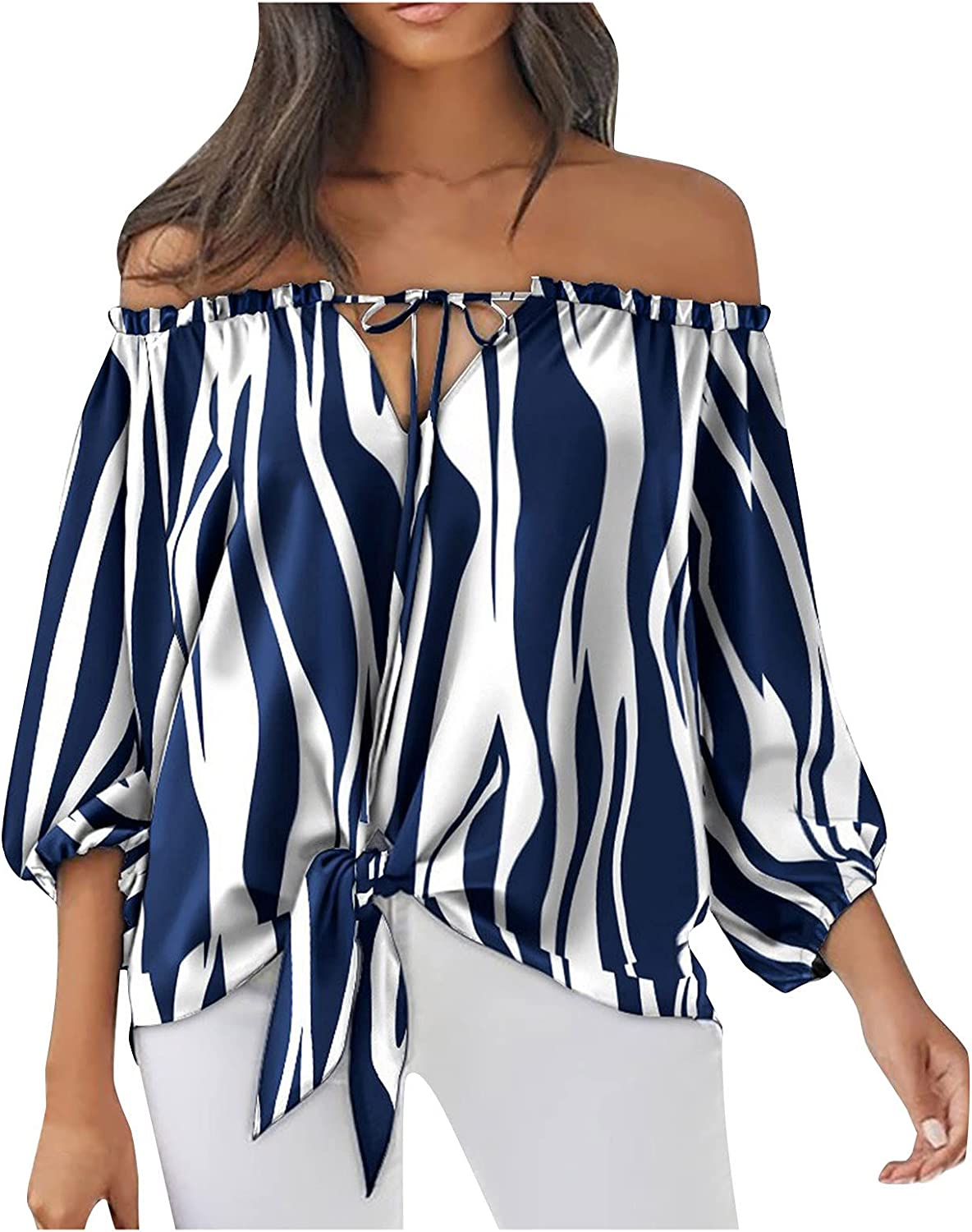 XINXX Womens Summer Sexy Cold Shoulder Tops Bow Tie 3/4 Bell Sleeve Striped Tees Loose Fit Tunic Shirts