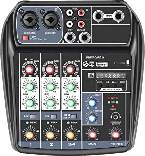 Neewer Pro Audio Stereo 4 Channel Mixer Compact Mini Mixing Console for Sound Recording, Webcast, Music Editing, 48V Phantom Power, RCA Input/Output, for Computer, Microphone, Guitar, CD Player, etc