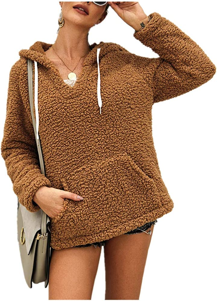 Super popular specialty store Gifts WOCACHI Fleece Hoodies for Womens Fuzzy Pu V-Neck Hooded Fluffy