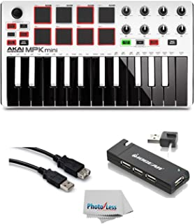 Akai Professional MPK MINI MK2 MKII | 25-Key Ultra-Portable USB MIDI Drum Pad & Keyboard Controller (White)+ 4-Port USB 2.0 Hub + High Speed USB Extension Cable + Clean Cloth