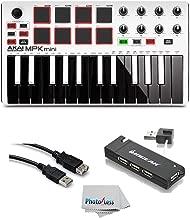 Akai Professional MPK MINI MK2 MKII   25-Key Ultra-Portable USB MIDI Drum Pad & Keyboard Controller (White)+ 4-Port USB 2.0 Hub + High Speed USB Extension Cable + Clean Cloth