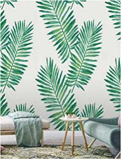 Floral Wallpaper Gold Tropical exotic palm leaves on a black background Removable wallpaper Peel and Stick Green Home Decor