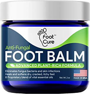 Foot Cure All-Natural Foot Balm – Moisturizing Foot Care Cream For Dry Skin, Cracked Heels & Callus Removal - Strong Antifungal Action For Itchiness, Toe Nail Infections & Athlete's Foot – Made In USA