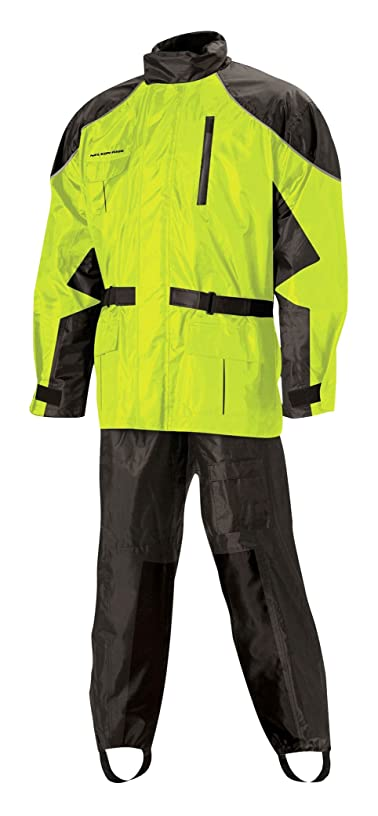 Nelson Rigg Unisex Adult AS-3000-HVY-03-LG Aston Motorcycle Rain Suit 2-Piece, (Hi-Visibility Yellow, Large)
