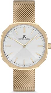 Daniel Klein Fiord Ladies - Silver Dial Gold Band Watch - DK.1.12651-6