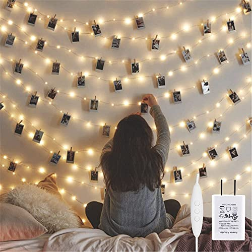 Twinkle Star 200 LED 66ft Fairy Copper String Lights USB & Adaptor Powered, Dimmable Control Starry String Lights Home Lighting Decor for Indoor Outdoor Bedroom Wall Patio, Warm White