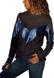 Dokotoo Womens Crewneck Long Sleeve Color Block Sweatshirt Pullover Tops