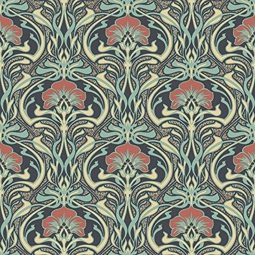 Crown Wallcoverings M1196 Tapete Flora Nouveau, volle Rolle, Grün