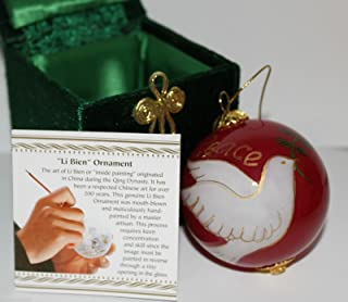 Pier 1 Imports Li Bien 2012 Red Glass Collectible Peace Dove Christmas Ornament