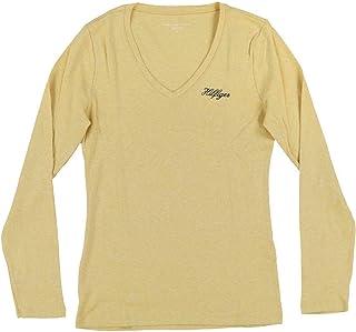 Tommy Hilfiger Womens Long Sleeve V-Neck Logo T-Shirt