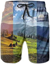 Men Swim Trunks Beach Shorts,Pastoral Village Rural Field with Rainbow Moon Sun Countryside Grassland Blue Green,Quick Dry 3D Printed Drawstring Casual Summer Surfing Board Shorts L