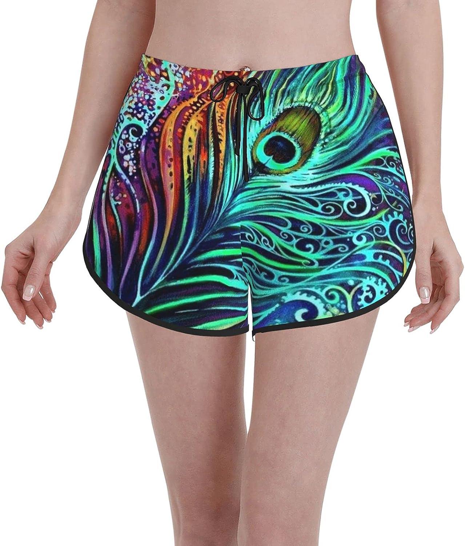 Minalo Women's Girl's Swim Trunks,Peacock Feather,Beachwear Swimsuits Board Shorts Bathing Suits,XL