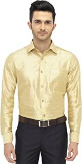 Khoday Williams Mens Full Sleeve Shirt - Slub Silk Dupion Material - Shirt Collar - Golden Colour - Mens Full Sleeve Shirt - Slub Silk Dupion Material