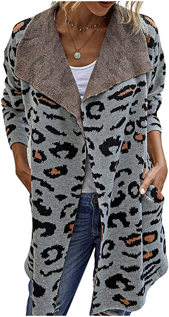 Women's 2021new shipping free shipping Leopard Print Long Sleeve Collar Knitti Lapel Front Animer and price revision Open