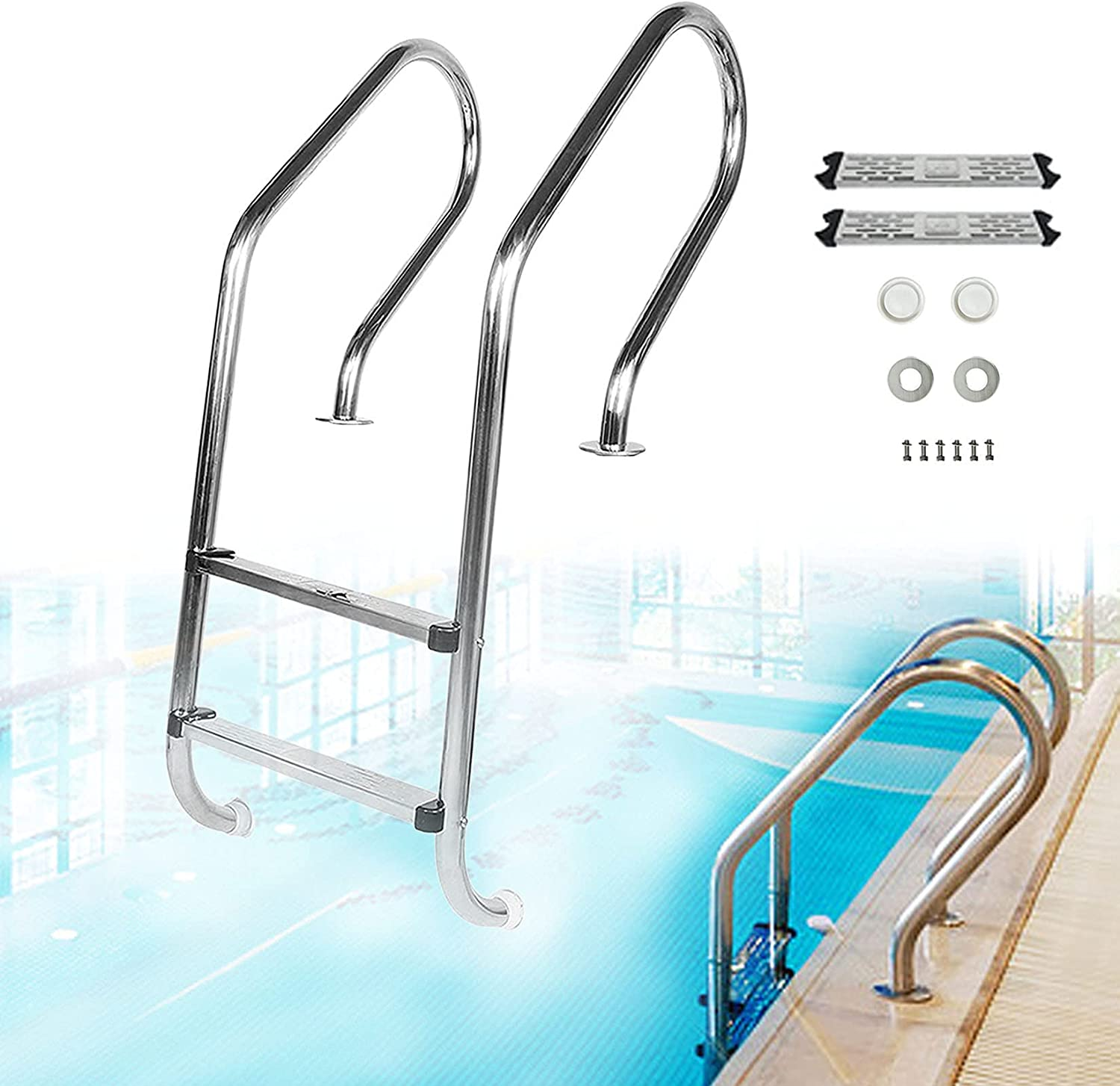 Popular standard Pool Hand Railing Stainless Steel Ladder Swimmi Heavy New Free Shipping Duty