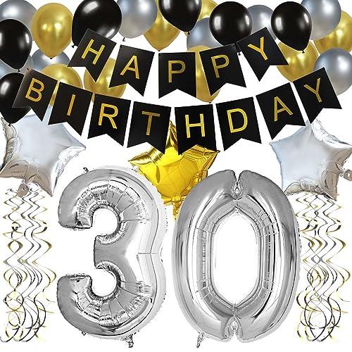 KUNGYO Classy 30TH Birthday Party Decorations Kit Black Happy Brithday BannerSilver 30 Mylar