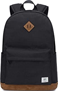 El-fmly Classic Water Resistant Backpack for School Lightweight Travel Daypack for Teen girls & Boys (Black)