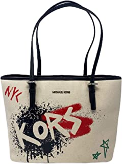 MICHAEL Michael Kors Graffiti Jet Set Travel Medium Carryall Tote Bag Light Cream