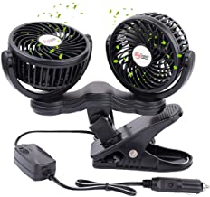 TN TONNY Dual Head Car Fan, 5 Inches Electric Car Clip Fans 360° Rotatable, Car Fan 12V Cooling Air Fan with Stepless Speed Regulation for SUV, RV, Vehicles