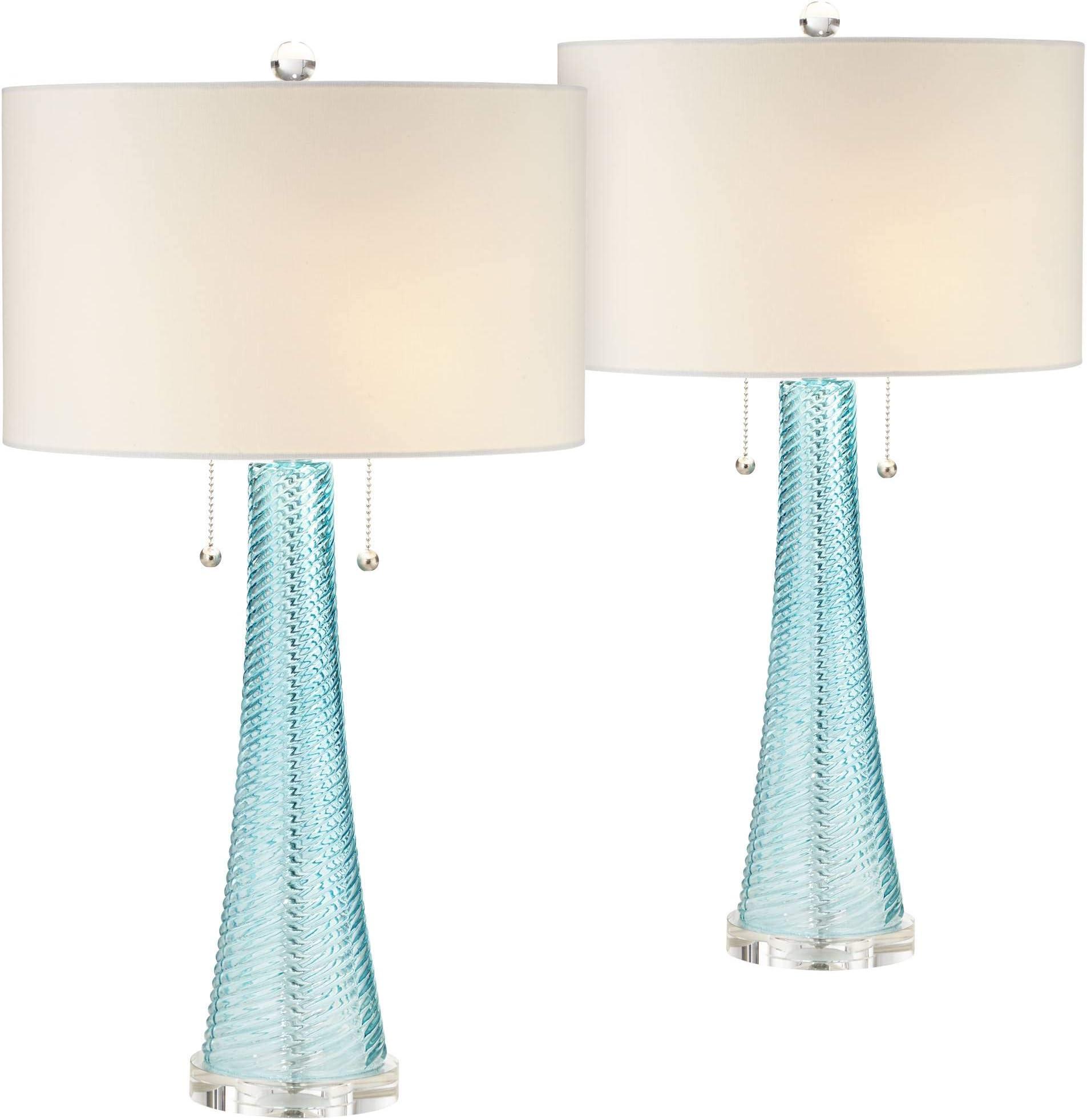 Aqua Lamp Finial One Inch White Gray Swirls