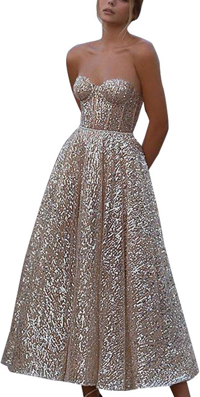 Women's Evening Dress Sexy Tube top Wedding Dress Sleeveless Off Shoulder Maxi Dress Prom Dress - Limsea