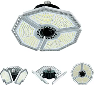 Garaje Lights Ajustables 120W, Lámparas LED de techo de Tres Paneles 13000LM, 6500K y E27, Iluminación Deformable de Taller para el almacén, granero, sótano, oficina, estadio.