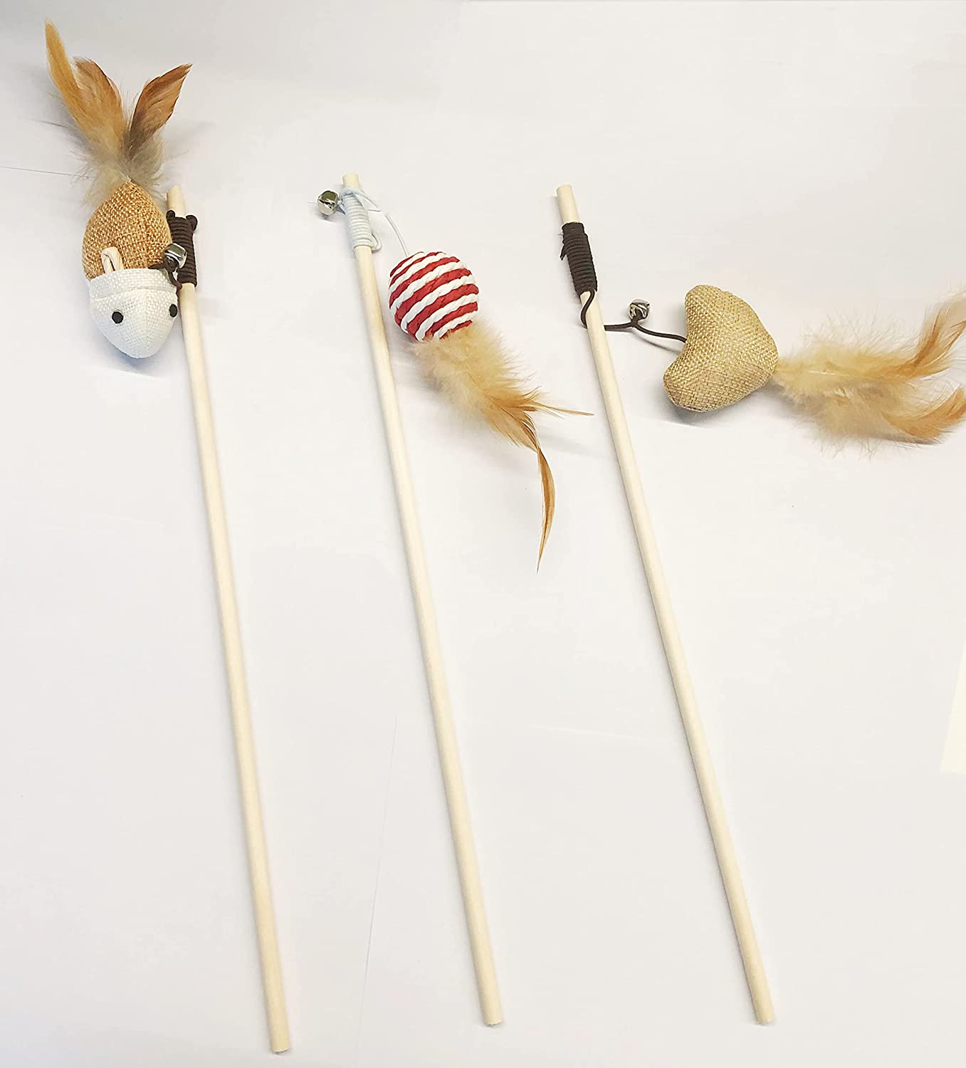 Cat Toys Funny OFFicial Stick 3 Fe Interactive Toy San Francisco Mall Wand Sets.