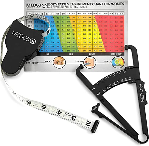 Body Fat Caliper and Measuring Tape for Body - Skinfold Calipers and Body Fat Tape Measure Tool for Accurately Measur...