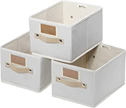 Foldable Storage Bins Set of 3 Rectangle Storage Basket, Sturdy Storage Basket with Lables,Decorative Storage Boxes for Sh...