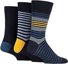 Mens 3 Pair SockShop Comfort Cuff Striped and Plain Bamboo S
