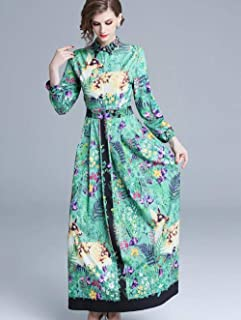 ABDKJAHSDK High Quality Elegant Western Spring New Up And Down Collar Collar Waist Print Women'S Long Dress