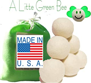 Six Eco-Friendly 100% Wool Dryer Balls with Free Eco-Felt Gift Bag, Handmade in America, 100% Premium Wool, XL, Natural and Unscented, (Green)