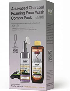 WOW Skin Science Activated Charcoal Foaming Face Wash Combo Pack- Consist of Foaming Face Wash with Built-In Brush & Refil...