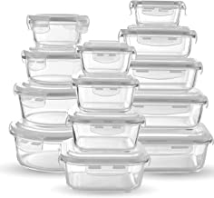 Chef's Star Glass Food Storage Containers [13-Piece Set] - Meal Prep Leakproof Container with Airtight Snap On Lids - Microwave, Oven, Freezer, Dishwasher Safe. for Kitchen, Lunch & Pantry - BPA Free