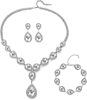 Womens Silver/Gold Plated Teardrop Crystal Wedding Bridal Jewelry Set Pendant Necklace Drop Dangle Earrings Set