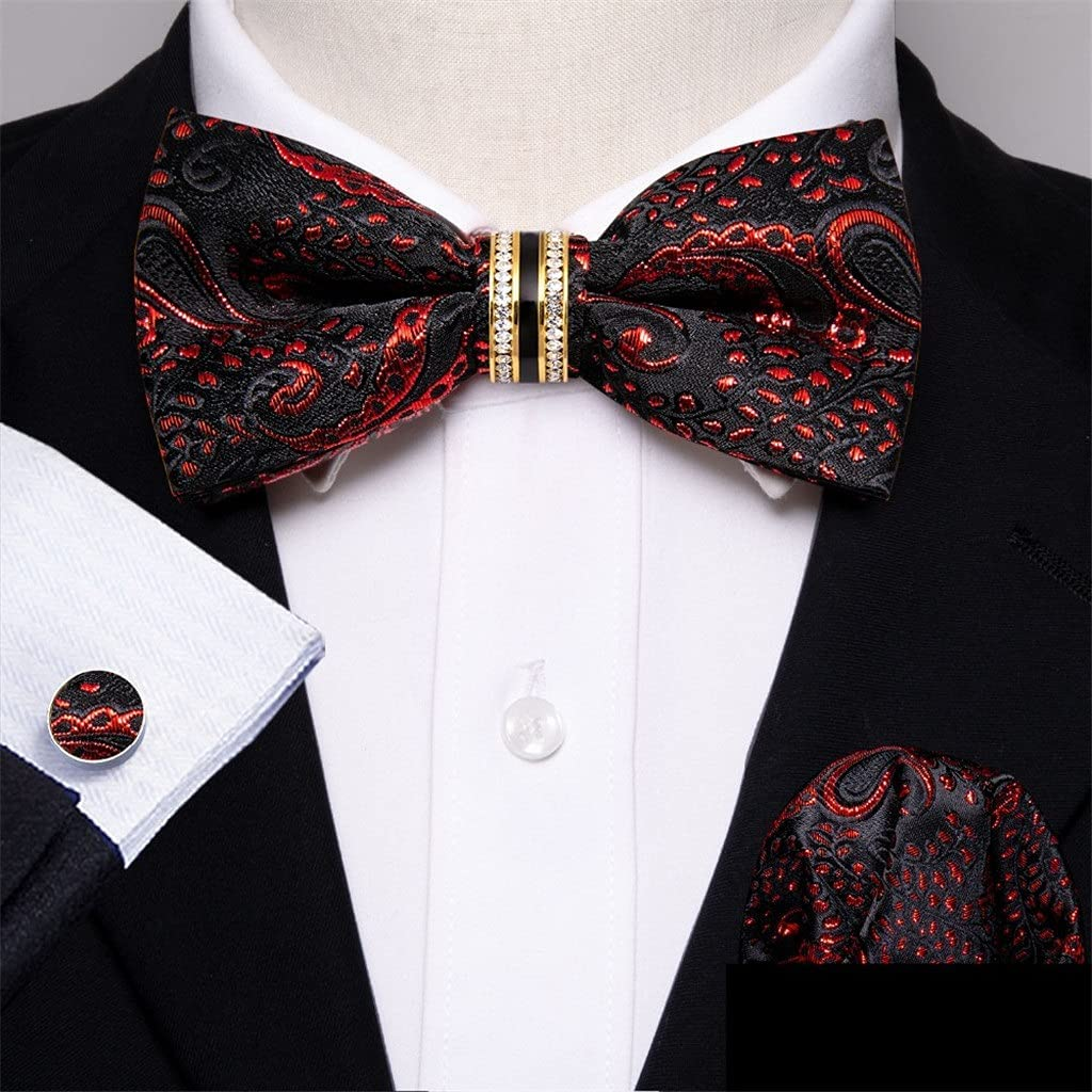 NJBYX Rose Red Silk Bow Tie For Men Wedding Accessorie Adjustable Butterfly Handky Removable Diamond Ring Set (Color : Red Floral, Size : One size)