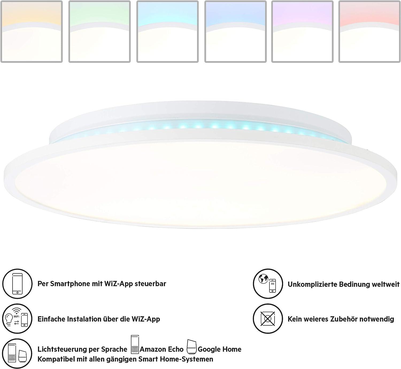 AEG Windy - smarte LED WiZ-Leuchte lampe per App steuerbar 45cm sand wei, dimmbar, Nachtlichtfunktion, Sprachsteuerung, 32 Watt, 2600 Lumen, Lichtfarbe 2700K (warmwei) bis 6200K (tageslichtwei)