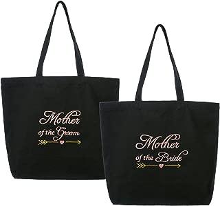 ElegantPark Mother of the Bride/Groom Wedding Tote Bridal Shower Gift Shoulder Bag Black with Pink Embroidered 100% Cotton 2 Pcs