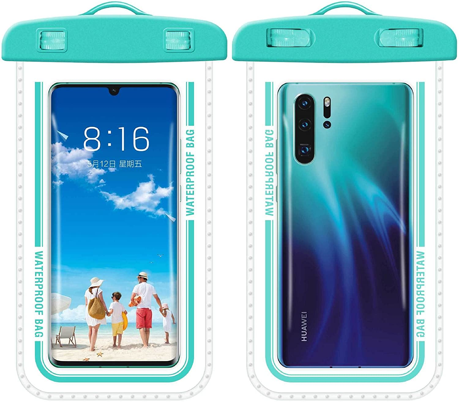 2Pieces Universal Waterproof Phone Pouch Underwater Clear Phone Case Cellphone Dry Bag Pouch with Lanyard Outdoor Beach Swimming Snorkeling for Smartphone up (lake blue)