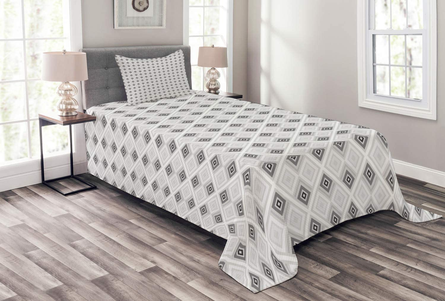 Ambesonne Edgy Bedspread Retro Style i and Rhombus Lines New life Stripe Tampa Mall