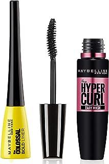 Maybelline New York Colossal Bold Eyeliner, Black, 3g & Maybelline New York Hypercurl Mascara Washable, Black, 9.2ml