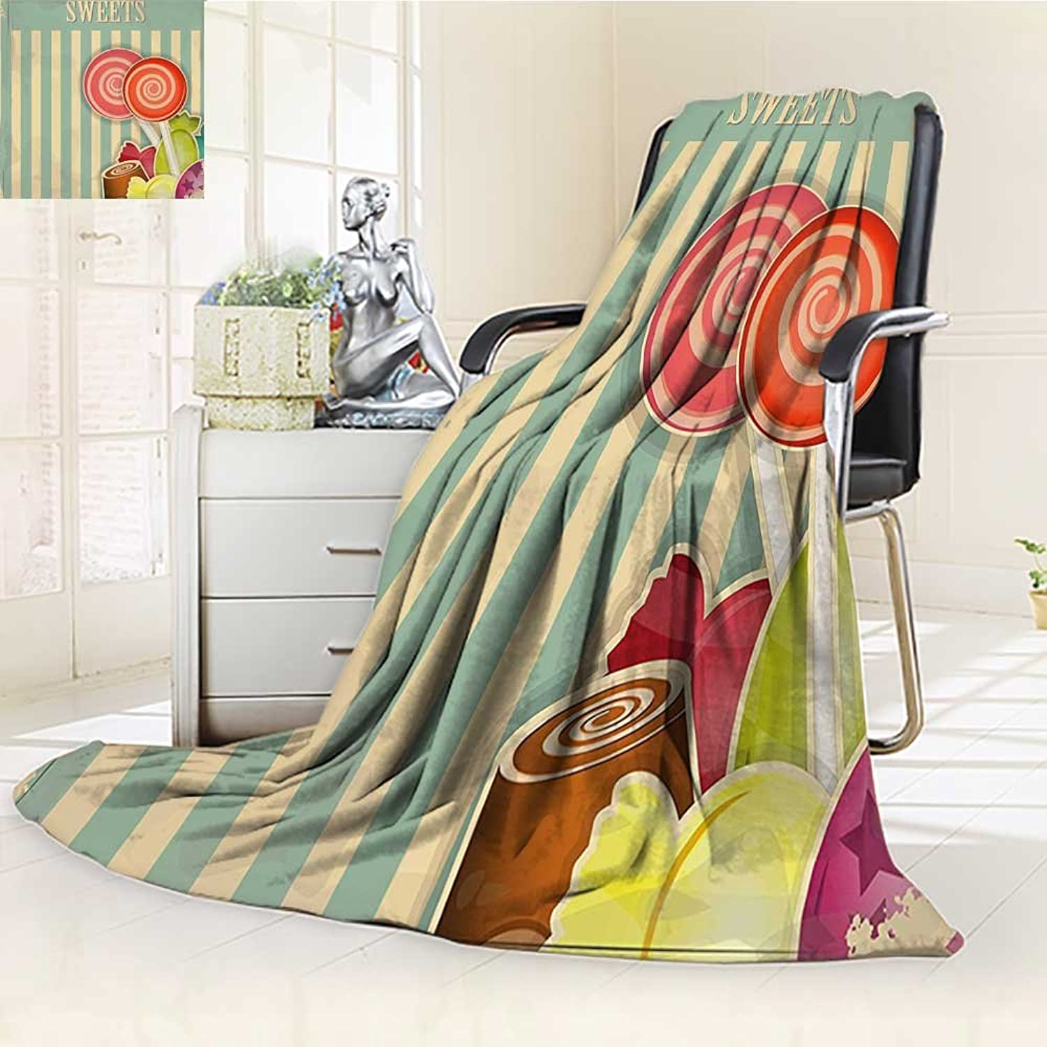 YOYIHOME Lightweight Summer Duplex Printed Blanket,Candy Store Chocolates Lollipops with White Stripes on Baby bluee Backdrop Multicolor Bed,Sofa, AirConditioner Room  W47 x H59