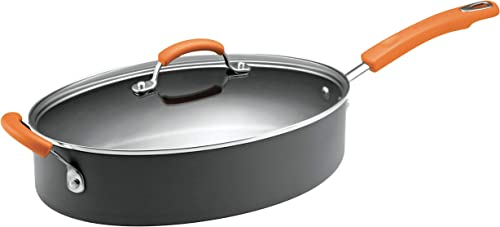 Rachael Ray 87395 Brights Hard Anodized Nonstick Saute Pan / Frying Pan / Fry Pan - 5 Quart, Gray